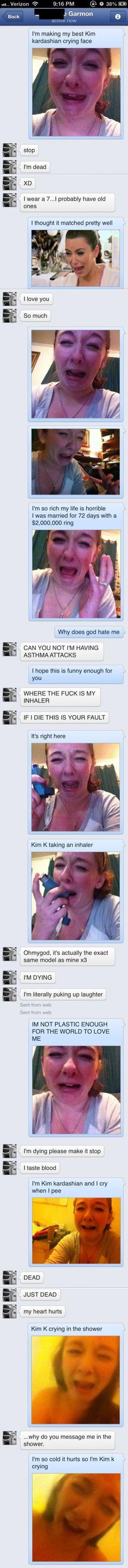 Kim K crying face... bahahahaha. Too funny! this is spot on