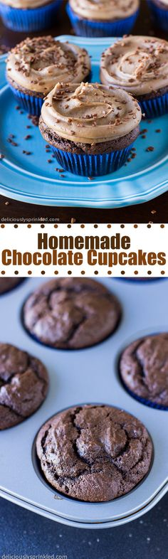 The BEST Homemade Chocolate Cupcakes with Milk Chocolate Buttercream Frosting!