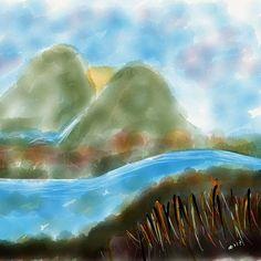 Otoño en China. Montañas llenas de vegetación ... El río que discurre libre ... Observado desde otra de las montañas #alttext #bobross #metsuke #metsu #met #drawing #draw #art #dibujo #dibujos #arte #paper #51 #madewithpaper #artists_community All my draw