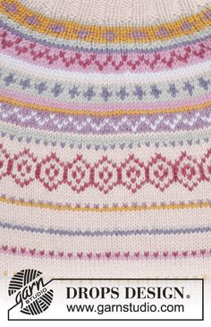 "Sweet As Candy / DROPS - Knitted DROPS jumper with round yoke and multi-coloured pattern in border in ""Karisma"". Drops Design, Knitting Patterns Free, Free Knitting, Free Pattern, Fair Isle Knitting, Knitting Yarn, Punto Fair Isle, Garnstudio Drops, Rowan Felted Tweed"