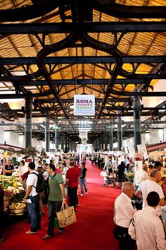 Fresh produce, sold directly to the public from local producers, is held at the Roma Farmer's market, held every weekend at the old abattoir, Testaccio, Rome, Italy
