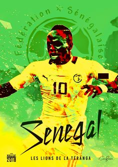 Senegal : Les Lions de la Téranga = The Lions of Teranga! Teranga is a Wolof word meaning hospitality. Football Design, Football Art, Football Posters, Football Jerseys, World Cup 2018 Teams, Fifa World Cup, Senegal Football, Coco Costume, Mens World Cup