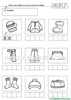Ficha 4-Contar sílabas Bulgarian Language, Preschool Writing, Letter Worksheets, Toddler Learning Activities, Reggio Emilia, Color Mixing, Vocabulary, Coloring Pages, Acting