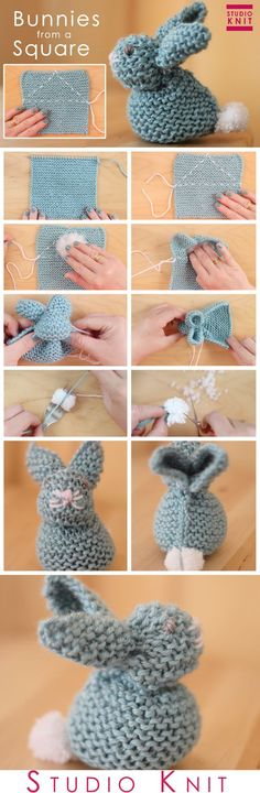 How to Knit a Bunny from a Square for Easter by Studio Knit. Quick Knit Bunny Garter Stitch Knitting.