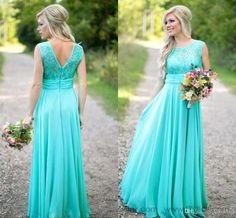 New Arrival Turquoise Long Chiffon Bridesmaid Dresses 2016 Scoop Neckline Lace Top V Backless Bridesmaid Dresses For Wedding