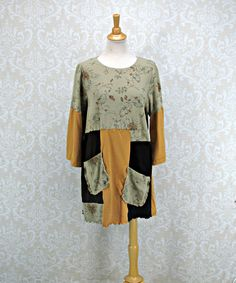 Upcycled Brown Tunic,Plus Size 1X,Womens 18-20,TShirt Top,Bohemian Clothing,Patchwork Tunic,Bell Sleeves,by Repurpose Couture by RepurposeCouture on Etsy