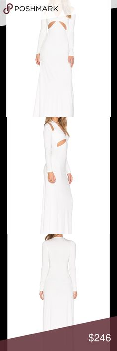 """Rachel Pally White Cut-Out Dress Rachel Pally's style has been distinguished by her ability to blend the easy and elegant with the chic and classic. This is absolutely gorgeous!   92% modal , 8% spandex Dry clean only Unlined Cut-out detail Shoulder seam to hem measures approx 55"""" in length Color - White Rachel Pally Dresses Long Sleeve"""