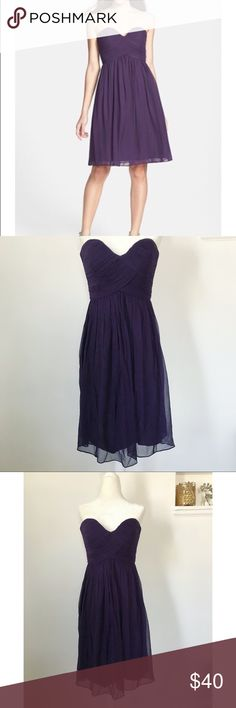 Donna Morgan Chiffon Dress Dark purple strapless dress from Donna Morgan. Sweetheart neckline. In great condition. Size 2. Donna Morgan Dresses Strapless