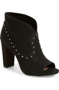 Free shipping and returns on Vince Camuto 'Corianne' Studded Open Toe Bootie (Women) at Nordstrom.com. A dynamically paneled open-toe bootie is styled with gunmetal studs and set on a wrapped, chunky heel for a trend-right update to your wardrobe.