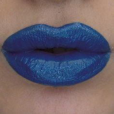 """NYX Wicked lipstick in """"SINFUL"""" described as:Deep cobalt blue with neutral shimmer."""