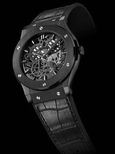 Bare Bones: 10 Interesting Skeleton Watches | WatchTime - USA's No.1 Watch Magazine (Hublot Classic Fusion Classico Ultra-Thin All Black)