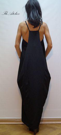 Black Kaftan / Asymmetrical Tunic / Maxi Black Dress by FloAtelier