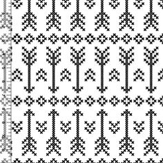 Black Stitched Arrow on White Cotton Jersey Blend Knit Fabric