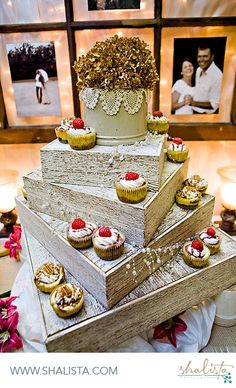 Cupcakes on stand make to look like cake and window pane engagement photo display