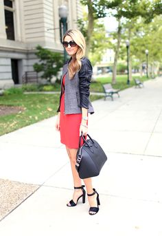 leather sleeves with an a-line dress & givenchy bag. Love the whole on get up. I want that purse.