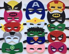 One set of 15 Superhero party masks, one of each style shown in the photo. Each mask is made with premium felt, and has a black elastic band sewn to each side of the back. These adorable party masks a (Diy School Party Favors) Superhero Party Favors, Superhero Birthday Party, 4th Birthday Parties, Birthday Party Decorations, Party Themes, Party Ideas, Diy Party, Craft Party, Party Centerpieces