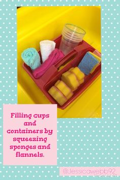 Exploring capacity by filling cups with flannels and sponges. How much does each sponge or flannel hold - EYFS