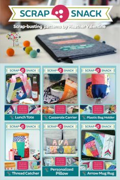 Have you seen the new Scrap Snack pattern collection in your local quilt shop yet? These easy to sew patterns offer bite size projects that are perfect for end of bolts, fat quarters and scrap fabric leftovers, Quilt shops can even create mini classes around them.