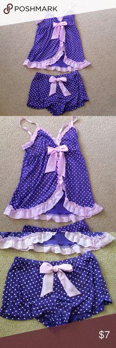 Pajama Set Cute purple polka dot pajama Set. Tank has adjustable straps. 60% cotton. 40% modal. SO Intimates & Sleepwear Pajamas
