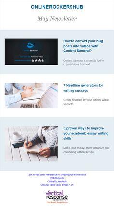 OnlineRockersHub newsletter created at VerticalResponse