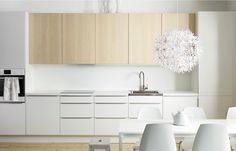 IKEA kitchen products to help you get your place refreshed and renewed. DIY ideas for updating your kitchen. Updating your kitchen can be inexpensive. Kitchen Sets, Open Kitchen, Kitchen Dining, Kitchen Decor, Kitchen Cabinets, White Cabinets, Room Kitchen, Deco Zen, Decoration Ikea