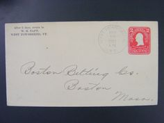 West Townshend Vermont Windham Co 1907 Type 2/3 Doane Cancel DPO 1821-1964 Cover