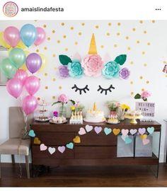ideas for birthday party unicorn decorations 4th Birthday Parties, Birthday Bash, Girl Birthday, Birthday Ideas, Party Decoration, Birthday Decorations, Unicorn Decorations Party, Fete Emma, Unicorn Themed Birthday