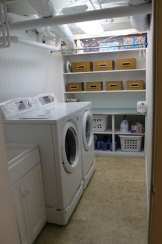 functional basement laundry. Will definitely need some major organization in my future laundry room
