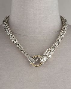 Naga Dragon Necklace by John Hardy at Neiman Marcus.  Handmade in Bali - the details on this piece are amazing.