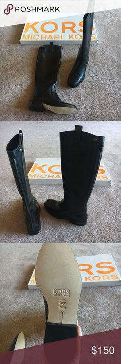 New with tags Michael Kors black leather boots 5.5 NWT Michael Kors black leather boots. Never worn size 5.. back zipper perfect condition, they just don't fit me. KORS Michael Kors Shoes Heeled Boots