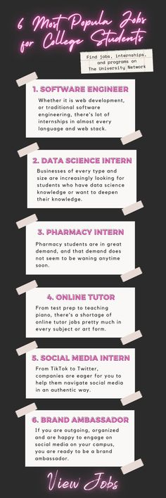 We have put together this list of popular internships, summer jobs and part-time jobs for college students. Saving For College, College Hacks, High School Students, College Students, College Survival Guide, College Club, Pharmacy Student, Career Inspiration, Summer Jobs