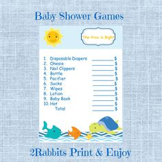 #Under #the #Sea #Themed #Baby #Shower -  The Price is Right Game by 2RabbitsPrintEnjoy