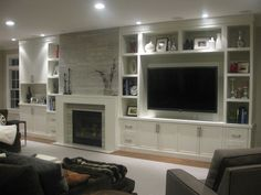 built ins, fireplace