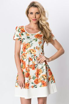Floral Cream A-Line Dress Dress P, New Dress, Lovely Things, Floral Tops, Summer Outfits, Cream, Casual, How To Wear, Women