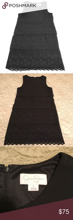 Jessica Simpson Sleeveless Tiered Dress Dress is lined and 100% polyester. Laser-cut flowers and dots trace whimsical dimension down a tiered chiffon shift dress with mod inspiration. Dress worn ONCE! No trades! Jessica Simpson Dresses