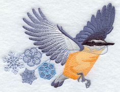 "Flying Nuthatch with Snowflakes	Product ID:	E8351 Size:	6.04""(w) x 4.4""(h) (153.4 x 111.8 mm)	Color Changes:	25 Stitches:	35619	Colors Used:	13"