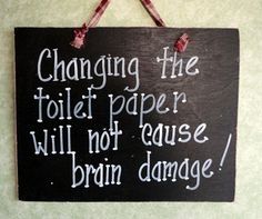 Bathroom toilet paper sign funny decor. $10.00, via Etsy.