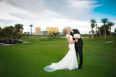 The Bride And Groom On Bali Hai Golf Club Fairway Las Vegas Wedding