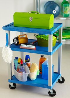 Mobile car washing station: A utility cart is durable enough to handle a variety of accessories. It's also easy to maneuver, which is a plus when you're cleaning your car. Equip the cart with chamois, cleaners, and squeegees for a quick and easy car cleanup.