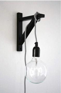 an ikea shelf bracket for hanging a light. about pop talk. an ikea shelf bracket for hanging a light. about Poppytalk. an ikea shelf br - Modern Wall Lights, Modern Wall Sconces, Modern Lamps, Home Decor Hacks, Diy Home Decor, Decor Crafts, Luminaria Diy, Edison Lampe, Edison Bulbs