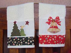 Natal - Toalhas de Lavabo Christmas Towels, Christmas Tea, Christmas Sewing, Christmas Projects, All Things Christmas, Applique Towels, Embroidered Towels, Applique Patterns, Quilting Projects