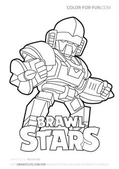 Mecha Bo skin from Brawl Stars fanart by Color for Fun. The outer, heavy outline makes it perfect to use as a coloring page. Star Coloring Pages, Coloring For Kids, Coloring Books, Avengers Coloring, Super Mario, Star Art, Diy Garden Decor, Art Inspo, Sailor Moon