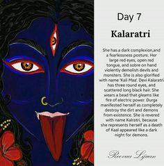 Navratri Day 7 - Dedicated to Goddess Kalaratri Navratri Puja, Navratri Wishes, Happy Navratri, Navratri Greetings, Indian Goddess, Kali Goddess, Durga Maa, Shiva Shakti, Spirituality
