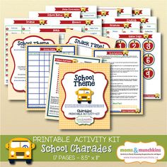 Charades For Family Fun: School theme (includes 10 printable games, score card, fun snack ideas and more!)