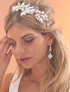 Pearl & Leaves Side tiara by Arianna Tiaras - Arianna Tiaras