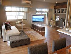 L148 360度回転のテレビボード リビングからでも、キッチンからでもTVを見ながら・・・高低差のあるソファも楽しい空間を演出。