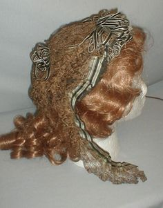 Fancy 1860's Lace Ribbon Headdress | eBay seller fiddybee. front brim & back neck area decorated w/ black & white velvet ribbons, has black & white stripe silk chin ties that are trimmed w/ black & dark gold lace