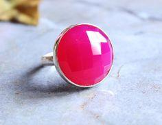 Fuschia Pink ring  Pink chalcedony ring  Gemstone by Studio1980, $80.00