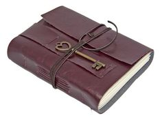 Burgundy Vegan Faux Leather Journal with Heart Key by boundbyhand, $25.00