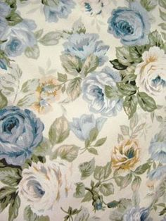 Blue roses wallpaper, isn't this Mardi's lounge? Decoupage Vintage, Decoupage Paper, Vintage Diy, Vintage Cards, Vintage Paper, Blue Roses Wallpaper, Fabric Wallpaper, Cream Wallpaper, Paper Background